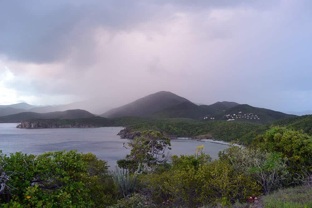 On top of Ram Head looking back toward Salt Pond Bay and Concordia (that cluster of white buildings)