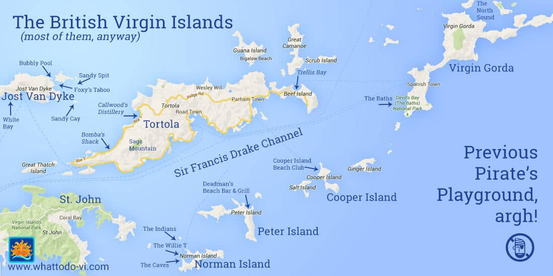 Island Hopping Hot Spots in the BVI Map