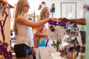 Virgin Island Business - Girls shopping at Sally's Boutique Cruz Bay St. John, U.S. Virgin Islands