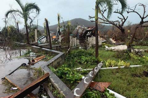 Devastation from Hurricane Irma on Gifft Hill area of St. John
